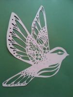 Hummingbird white on green